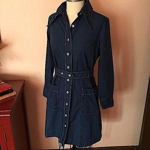 VTG 60 70 MOD Blue Shirt Dress Matching Belt